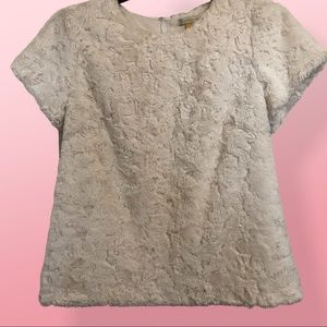 Anthropologie ivory faux fur SS sweater size MED